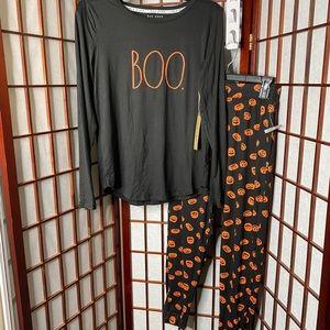Rae Dunn Halloween BOO Pajama Set NEW